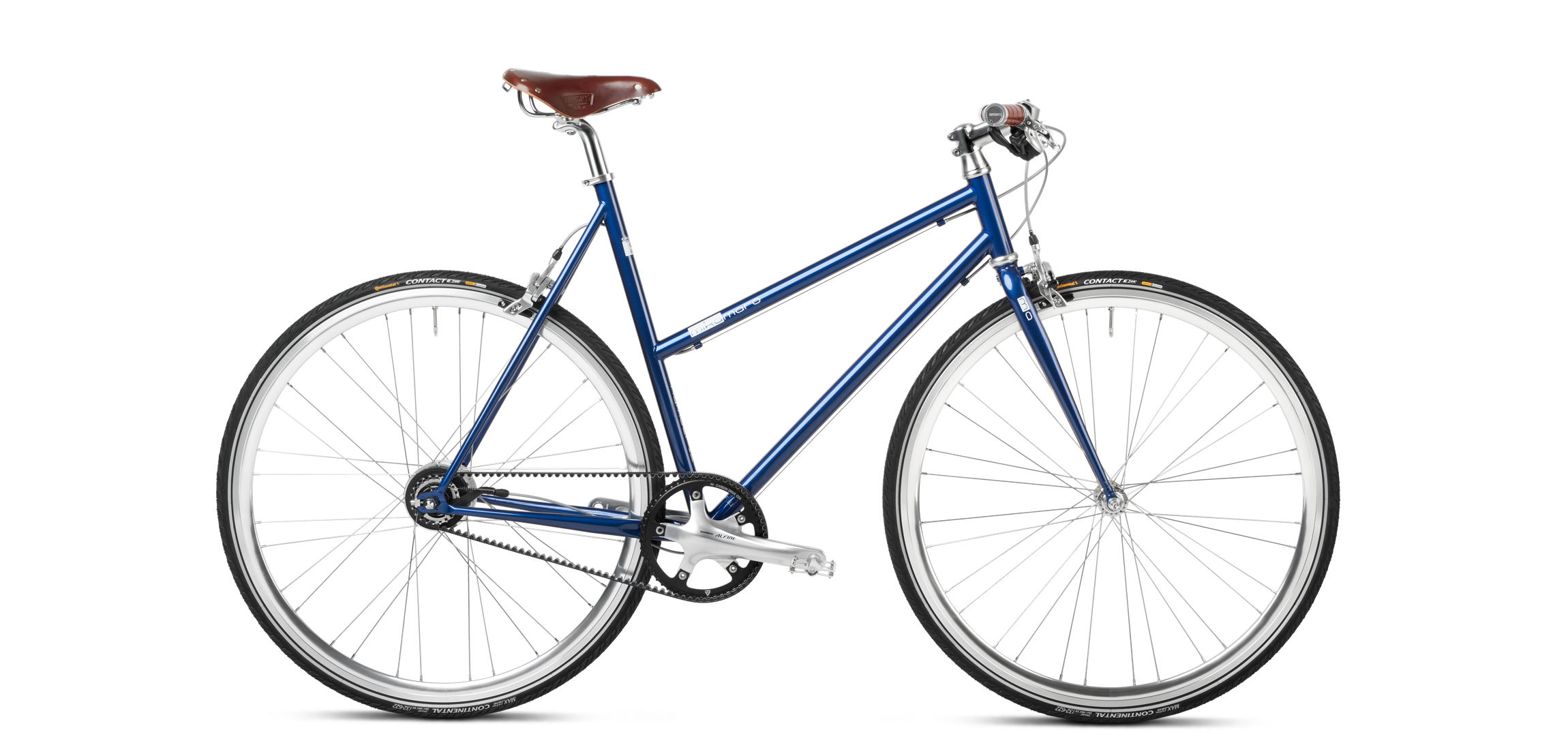 Urban Bike Women blau Gates Riemenantrieb Brooks