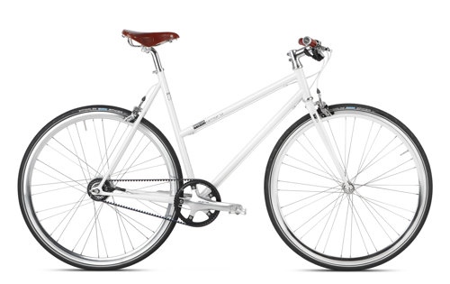 Women Urban Bike white with belt drive, Gates and Brooks